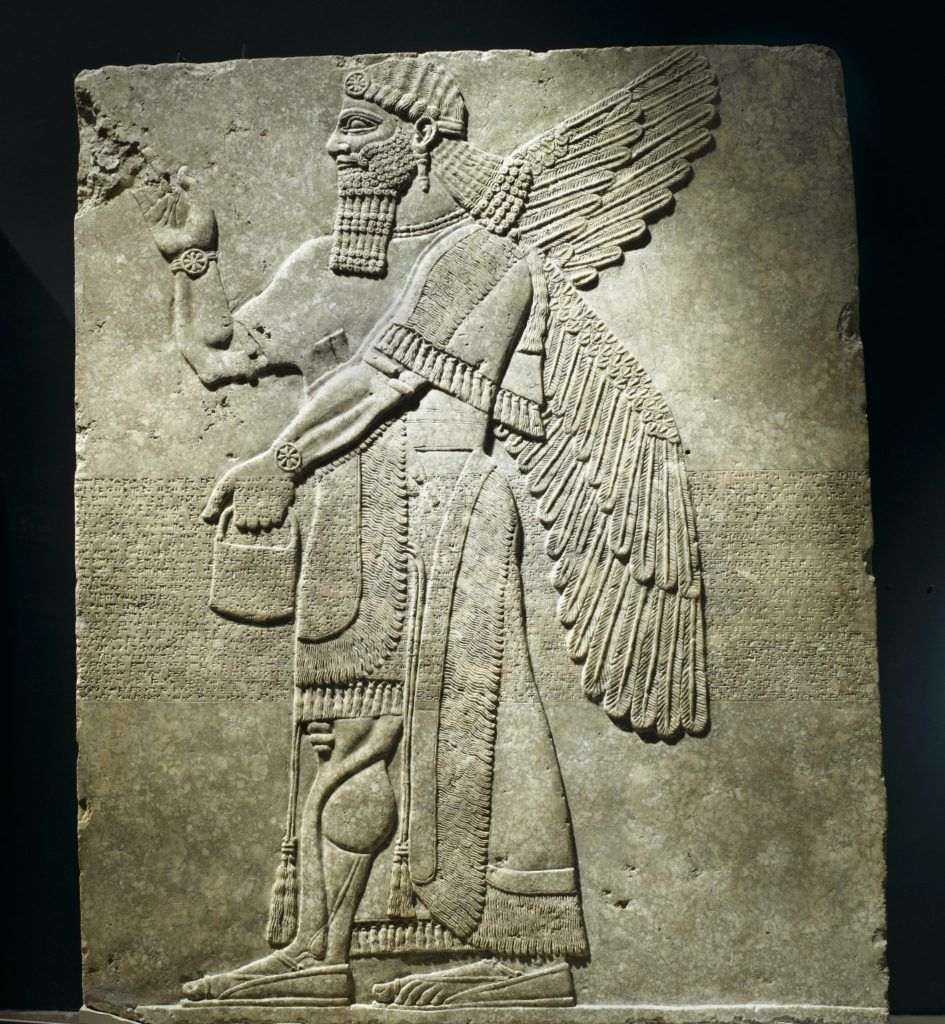 Ancient Mesopotamia Assyrian Relief of Winged Man-Headed Figure